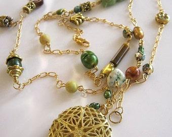 Long Gold Pearl, Gemstone and Filigree Locket Necklace - Rapunzel's Golden Locket