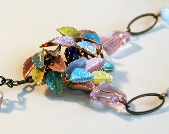 Colorful Vintage Enamel Assemblage Necklace - Baby Bird
