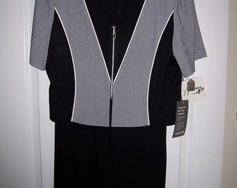 Womens Pant Suit, Black & White Pantsuit, Size 14, Clearance Sale, by Nanas Vintage Shop on Etsy