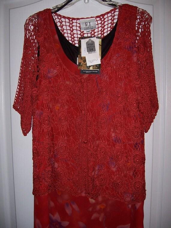 Reserved for Gabriela, Sale, Long Dress, Sleeveless, Crochet Jacket, Size 16, Nanas Vintage Shop on Etsy