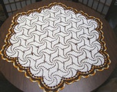 Large Vintage Doily - 39 inches - Hexagon - Crocheted Autumn Shades