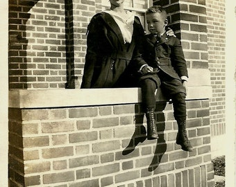 Old Photo - Lady and Little Boy - Edwardian era - Historical Snapshot - Circa 1910s