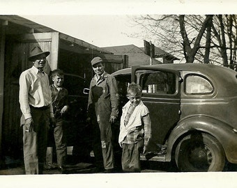 Old Photo - Men, Boys, 1930s Ford Humpback Sedan Automobile - Historical Snapshot - April 1948