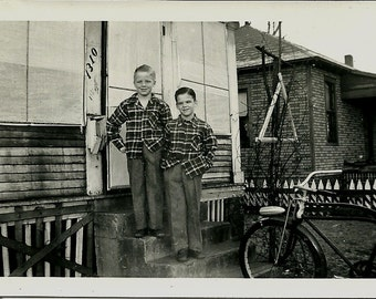 Vintage Photo - Two Boys on the Steps - 1940s - Plaid Shirts - Black and White Snapshot
