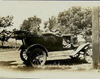 Vintage Photo - Model T Ford Automobile - Tin Lizzie - Man in a Convertible - taken in 1928