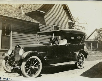 Vintage Photo - 1920 Studebaker - taken August 1921 - Man in Car
