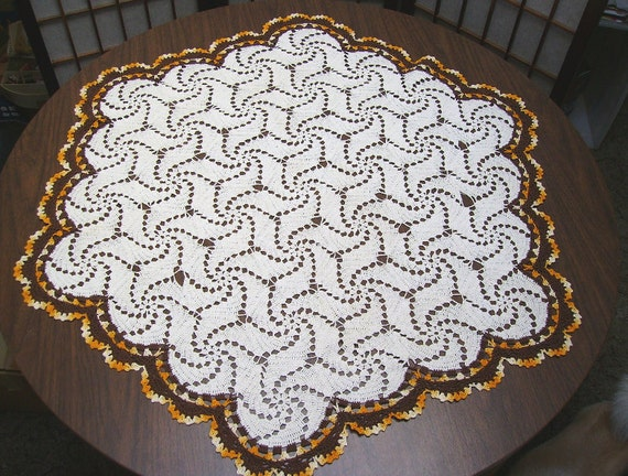 Large Vintage Crocheted Doily - 39 inch Hexagon - Autumn Shades - circa 1940s - Orange and Brown Thanksgiving Table Topper