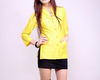 Small - Vintage Kimono Blouse Yellow Mod Indie Top