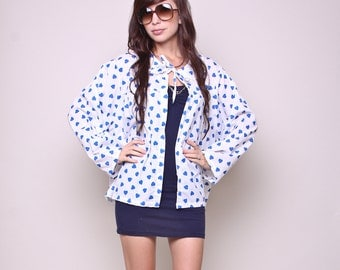 XL / Plus / XXL - Vintage Overshirt 80s Hipster Indie Oversized Blue and White Heart Top
