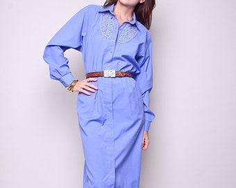 Large / XL Vintage Dress 70s Boho Indie Blue High Waisted Dress with Pockets