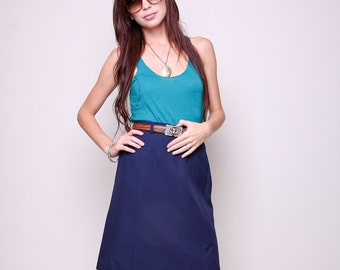 Small / Medium - Vintage High Waisted Navy Skirt - 60s Mod Indie Navy Blue Skirt with Pocket