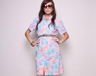Medium - Vintage 70s Hippy Boho Floral Pastel Tent Dress with Pockets