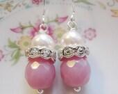 Silver earrings, Pink, Pearls, Rhinestone, Silver Earwires. Bridal Jewelry, Bridesmaid Earrings
