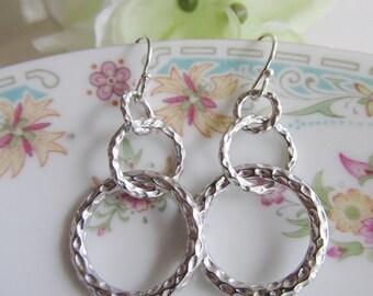 Petite Silver Circle Hoop earrings, Hammered Silver Circles, Dangle Drops, Modern, Simple, Everyday Wear