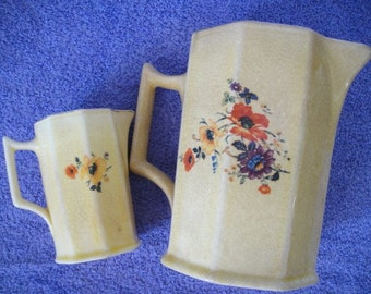 Vintage American Limoges Golden Glow Yellow Ware Pitchers
