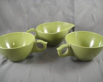Melamine Avocado Green Melmac Cups and Creamer