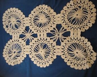 Table Runner Doily White Crochet 16x10