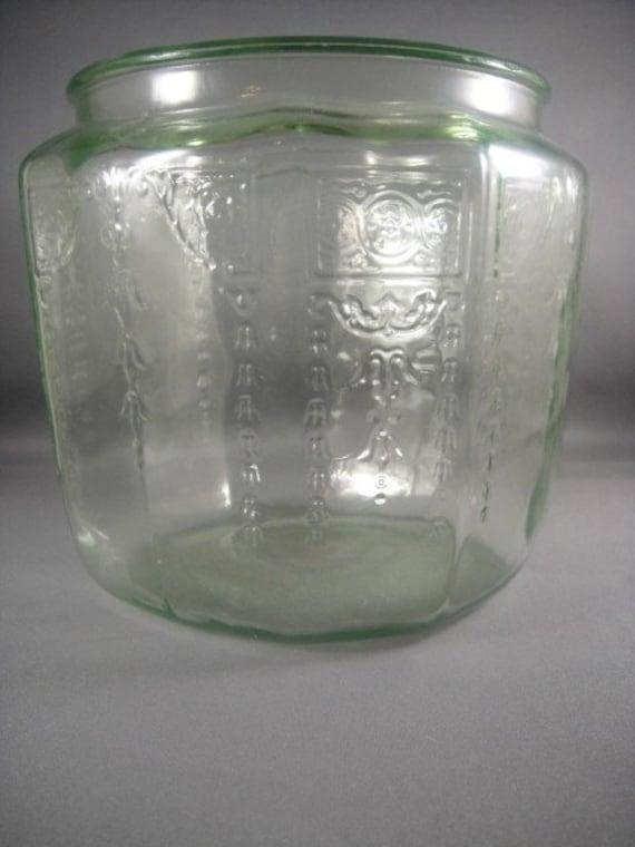 Green Depression Glass Princess Pattern Cookie Jar No Lid