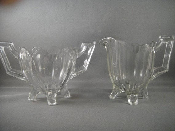 EAPG Jefferson Glass Quadruped or Chippendale Sugar and Creamer