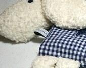 Customizable blue sheep shaped cherry pit pillow