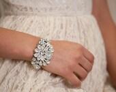 Bridal Cuff Bracelet, Bridal Jewelry Wedding Bracelet, bridal Accessories , Rhinestone Cuff Bracelet, Sparkle ,
