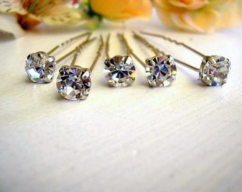 bridal hair jewelry ,Bridesmaid gift, bridal hair pin, bridal jewelry, vintage style, wedding, Bobby, Rhinestone set of 5, hair accessories