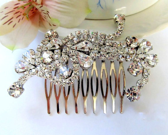 Wedding hair comb, bridal hair comb, crystal rhinestone hair comb, wedding hair accessories, Vintage Inspired hair comb