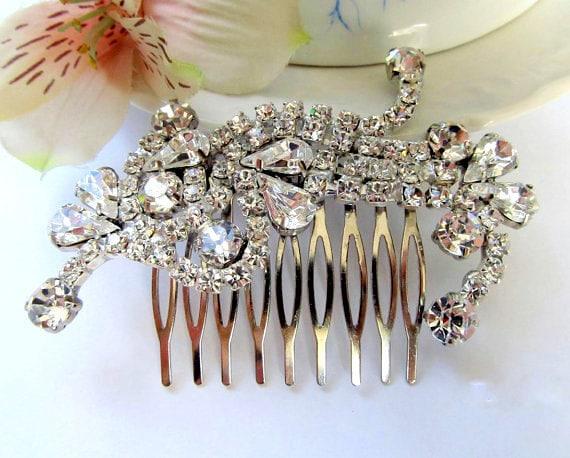 Wedding hair comb, bridal hair comb, crystal rhinestone hair comb, wedding hair accessories, Vintage Inspired hair comb