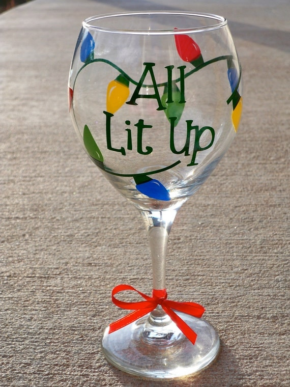 Items similar to all lit up christmas wine glass on etsy for Christmas glass painting