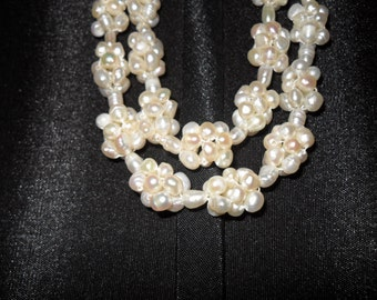 Vintage Fresh Water Pearls Necklace, Pearl Clusters Necklace