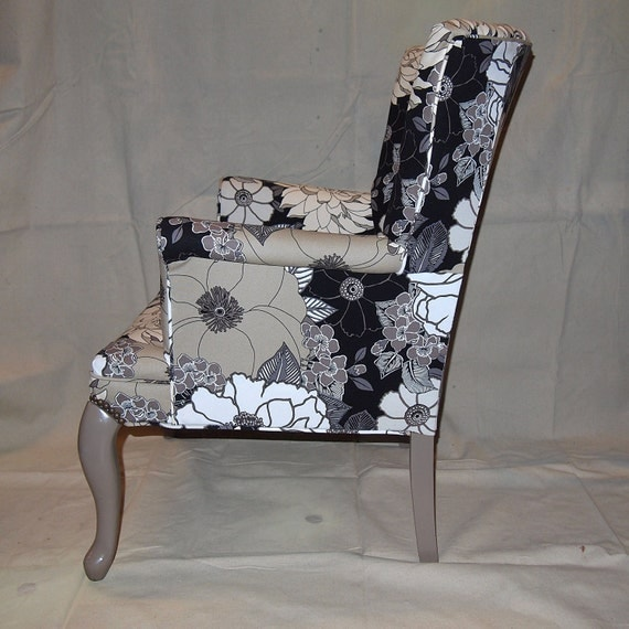 GLAM 1940s Clam-back Wing Arm Chair NEWLY CUSTOM Refurbished in Black White and Taupe Mod Floral one of my Vintage Rejuvenations