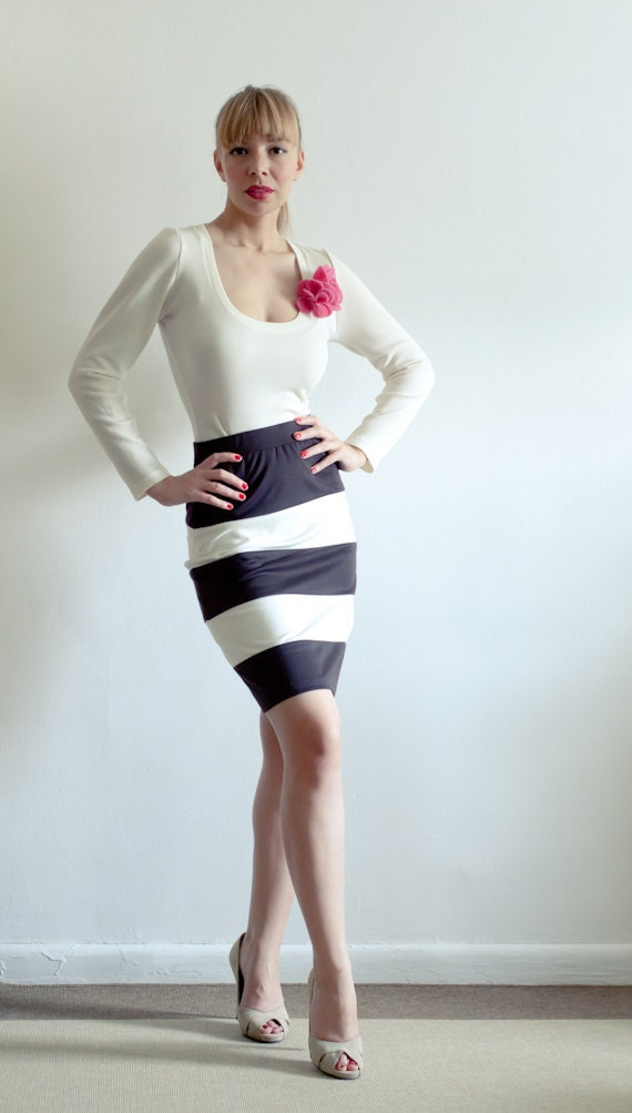 SAMPLE SALE - Black and Cream Jersey Color Block Pencil Skirt