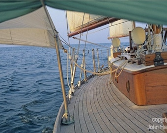 On the Beam- Classic Wooden Sailboat Under Sail on Lake Erie- Sailing Art