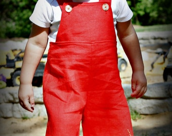 Tomato Red Linen - A Good Day OVERALLs