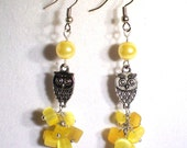 Yellow Mother of Pearl Nugget Silver Dangle Owl Earrings, Available in Other Colors