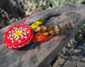 Small Beaded Feather Hair Clip