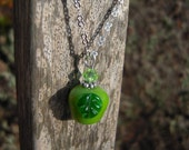 Green Apple Necklace with Swarovski Crystal Bead