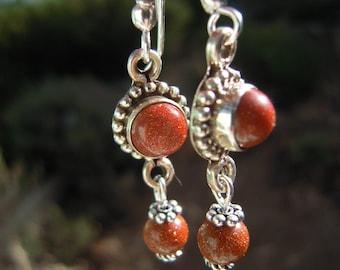 Red Goldstone Earrings, Bohemian Silver Earrings