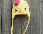 Adorable Little Miss Chick Earflap Hat with Flower Accent -- 12 months-4T