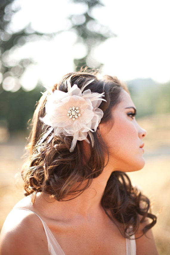 Available at Nordstrom, Bridal Headpiece, Bridal Hair Flower, Champagne - The Renee