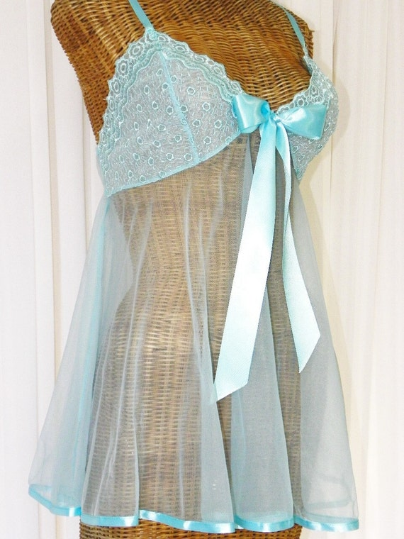 Vintage Chiffon Baby Doll Nightgown Aqua Blue Sweeping Sheer Circle Skirt New Without Tags 130 Inch Sweep Size Large on Etsy