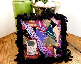 Bohemian Crazy Quilt Pillow Original Design, Hand Embroidery Silk Ribbon, Vintage Glass Beads