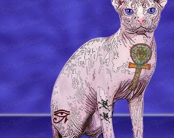 Sphinx Cat Print, Tough Dog Art  , Unique dog Art, Tattoo Dog Art Print, Dog Lover Gift, Modern Dog Art, Dog Art Print, Pet Lover Gift