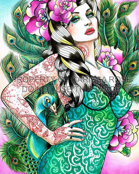 Lowbrow Pin Up Girl With Tattoos and Peacock Feathers Signed Art Print by Carissa Rose 5x7, 8x10, or 11x14