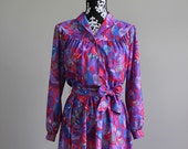 1970s semi sheer vivid purple dress SIZE S/M