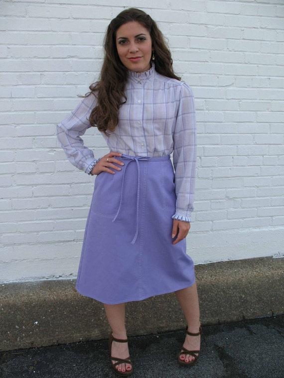 1970s lavender wrap around skirt SIZE S/M