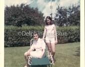 Digital Scan // Vintage // Color Photo // Mother & Daughter in Garden   06091