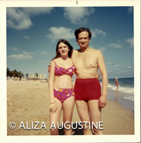 Instant Download, Father & Daughter on Beach, Vintage Color Photo, Red Bathing Suits, Snapshot, Old Photo, Found Photo, Printable    0698