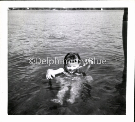 Instant Download, Girl Floating In Water, Vintage Photo, Black & White  Photo, Found Photo, Vernacular Photo, Snapshot, Printable      0184