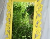 Ornate Mirror ,Rose Mirror, Shabby Chic Mirror,  Nursery Mirror,Beach Cottage Mirror, Size 30 x 19 Choose Color